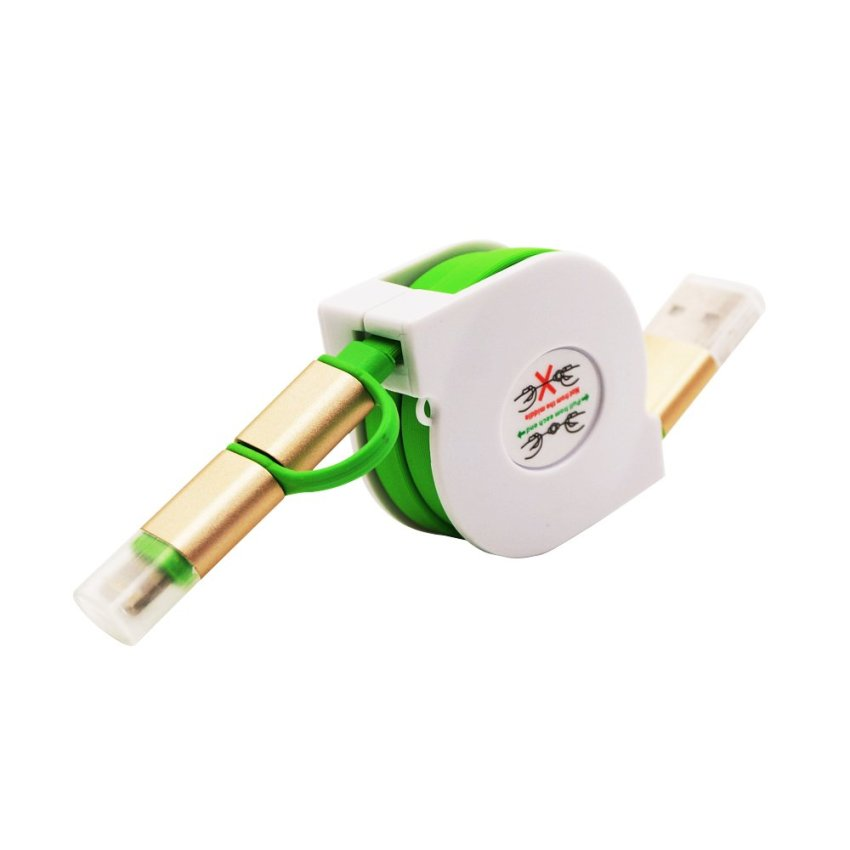1m Ear Retractable Design 2in1 Micro USB Charging and Data Transfer Cable and 8 Pin Adapter For Phone 6 6 Plus 5 5S iPad Mini HTC Samsung Sony (Green) (Intl)