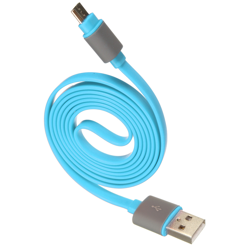 1m Flat Noodle Micro USB Data Sync Charger Cable with Anti Dust Cap Light Blue (Intl)