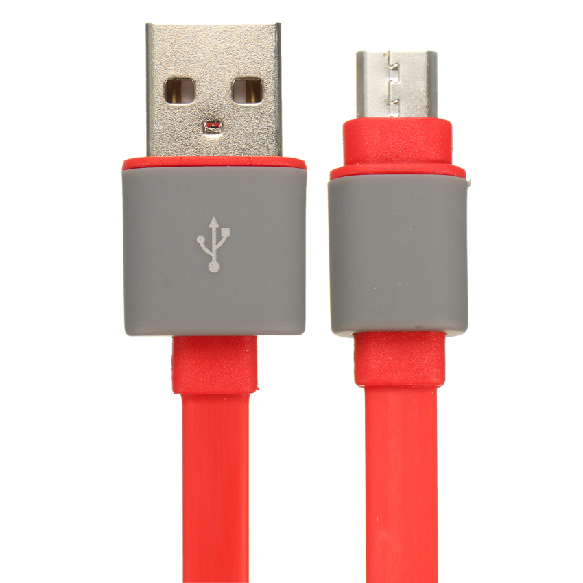 1m Flat Noodle Micro USB Data Sync Charger Cable with Anti Dust Cap Red (Intl)