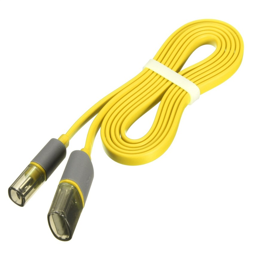 1m Flat Noodle Micro USB Data Sync Charger Cable with Anti Dust Cap Yellow (Intl)