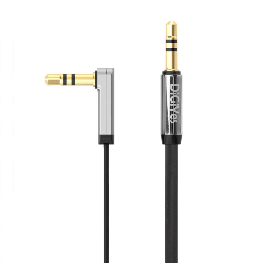 1m Length 3.5mm Auxiliary Audio Flat Cable 90 Degree Right Angle Compatible for iPhone (Intl)