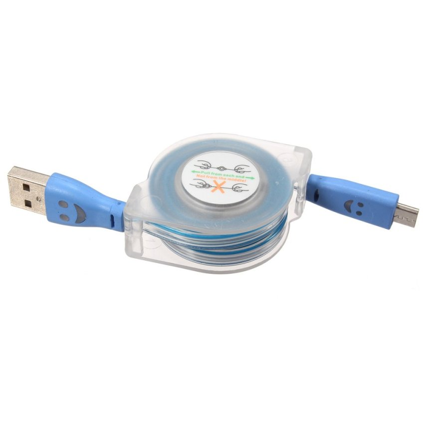 1m Visible Retractable LED Light Micro USB 2.0 Data Sync Charger Cable for Phone (Blue) (Intl)