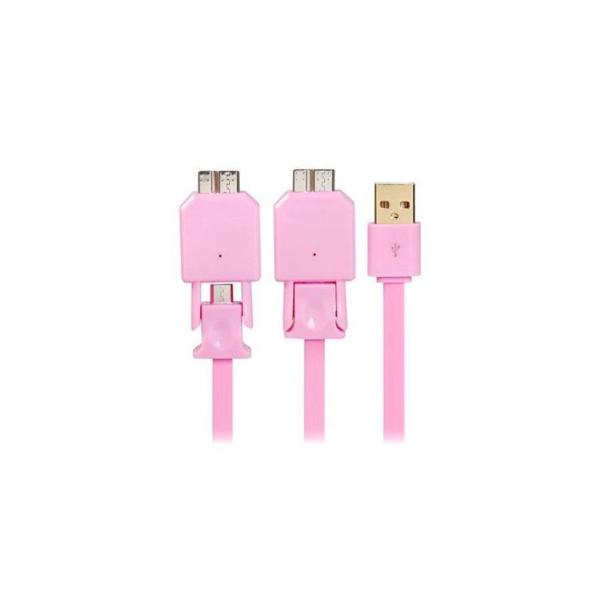 1M X-702 2 in 1 Micro 2.0/3.0 USB Charge Sync Wide Flat Data Cable Pink