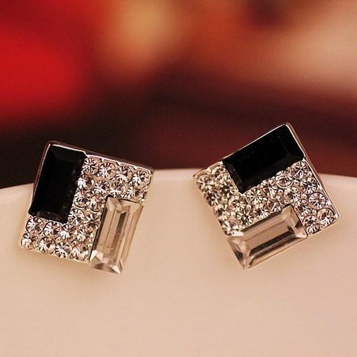 1pair New Women Lady Elegant Full Rhinestone large stones Ear Stud Earrings