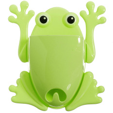 1x Cute Frog Toothbrush Makeup Tools Wall Stick Paste Organizer Holder Hook (Green)