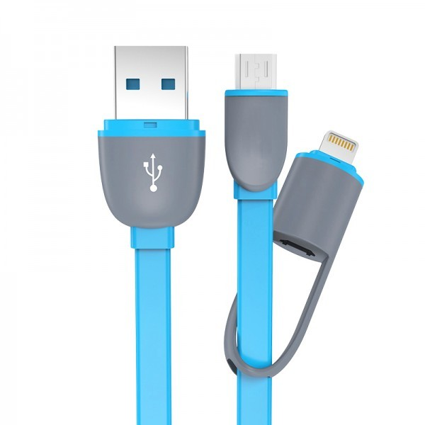 2 in 1 Duo Magic Cable Lightning and Micro USB Cable for Android / iOS - Biru