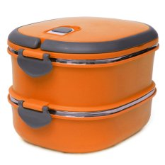 2 Layers Double Portable Stainless Steel Insulated Lunch Box Picnic Container Cskwin2015 Orange (Intl)