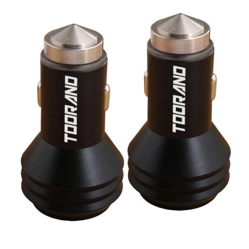 2 Pack Car Safety Hammer Aluminum Dual 12V 24V USB Multi-functional Car Charger (Black)(INTL)