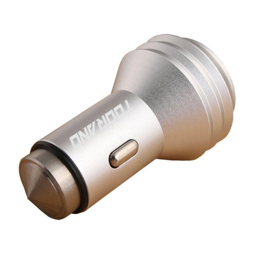 2 Pack Car Safety Hammer Aluminum Dual 12V 24V USB Multi-functional Car Charger (Silver)(INTL)