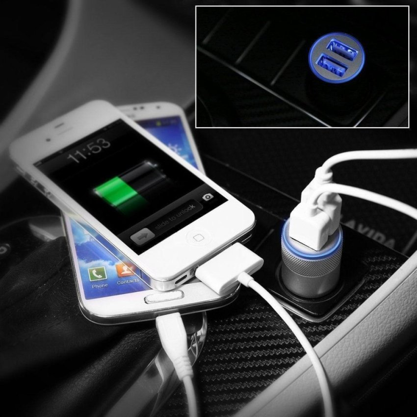 2 Pack Dual USB Ports Car Charger Adapter for iPhone 6 Plus Galaxy S6 LG G4 HTC and Other digital Devices (Silver)(INTL)