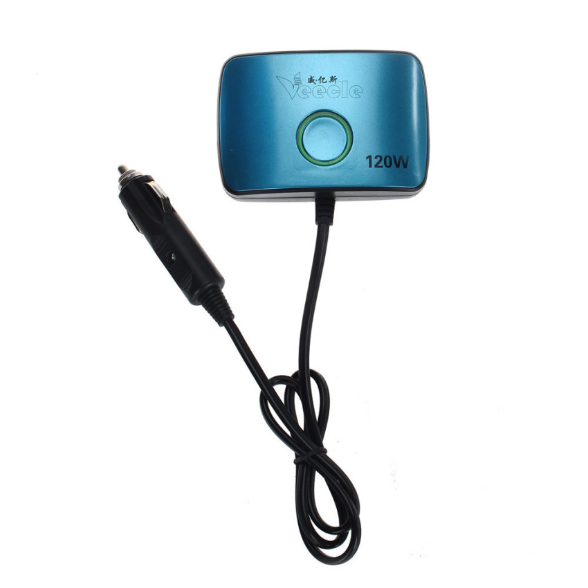 2 USB Cigarettes 3 Way Car Lighter Socket Splitter Charger Power Adapter (Dark Blue) (Intl)