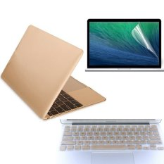 11.6 Inch For Apple Macbook Air 11.6 Laptop Computer Gold Matte Protective Shell Laptop Protective Case And Keyboard Film And Screen Protection Film 3 In 1
