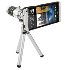 12X Optical Zoom Mobile Phone Telescope Circumscribing Lens With Tripod + Plastic Case For HTC One / M7 - Intl