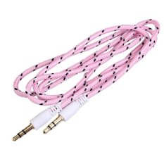 1m Woven 3.5mm Male To 3.5mm Male Audio Cable Cord For PC IPhone MP4 (Pink)