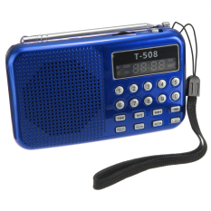 2pcs T508 Mini Portable LED Stereo FM Radio Speaker USB TF Card MP3 Music Player Blue+Red (Intl)