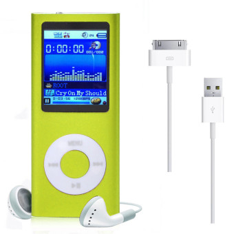 32GB 1.8inch MP3 MP4 Slim Digital LCD Screen FM Radio Music E-book Video Player + USB Cable + Earphone (Green)