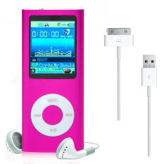 32GB 1.8inch MP3 MP4 Slim Digital LCD Screen FM Radio Music E-book Video Player + USB Cable + Earphone (Hot Pink)