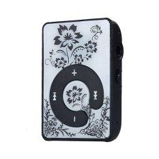 32GB Mini Clip Flower Pattern MP3 Player (Black) - Intl