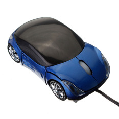 3D Optical USB Wired Mouse Mice 1600DPI Car Shape For PC Laptop Notebook Computer (Blue)