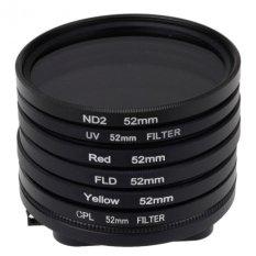 6 In 1 Lens Filter Set For GoPro HERO4.3 + (52mm ND2 Lens Filter + UV Lens Filter + Red Filter + FLD Filter + Yellow Filter + CPL Filter + Filter Adapter Ring) - INTL