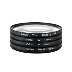 62mm UV + CPL + Close-Up + 4 + Star 8-Point Filter Circular Filter Kit Circular Polarizer Filter Macro Close-Up Star 8-Point Filter with Bag For Nikon Canon Pentax Sony DSLR Camera (Intl)