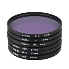 67mm UV + CPL + FLD + ND (ND2 ND4 ND8) Photography Filter Kit SetUltraviolet Circular-Polarizing Fluorescent Neutral Density Filterfor Nikon Canon Sony Pentax DSLRs - Intl