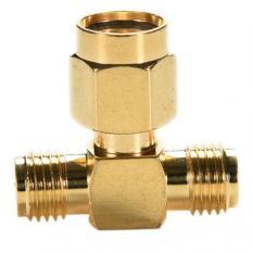 Amango Adapter RP.SMA Jack Male To 2 RP-SMA Plug Female Connector
