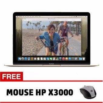 "Apple MacBook Retina MK4M2 - Intel Core M Dual Core 1.1GHz - 8GB - 256GB - 12"" - Gold + Gratis Mouse HP x3000 ( GARANSI RESMI )"