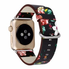 Apple Watch Band National Black White Floral Printed Leather Watch Band Strap for Apple Watch Flower Design Wrist Watch Bracelet for iwatch38 /42mm - intl