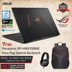 Asus ROG STRIX GL553VD-FY280D With Intel Core i7-7700HQ Nvidia GTX1050 4GB GDDR5 8GB RAM DDR4 1TB HDD + Windows 10 + Free Panasonic Headphone + Asus Rog Special Backpack Garansi Resmi 2 Tahun