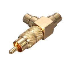 Audew Gold Plated RCA Phono Splitter Plug 1 Male To 2 Femal Audio Y Adaptor Connector