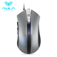AULA OFFICIAL PIONEER Sniper Key Removable Counterweight 5000 DPI With 6 Colors Gaming Mouse (Grey) - Intl