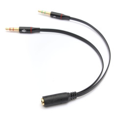 AUX Audio Mic Splitter Cable Earphone Headphone Adapter 1 Female To 2 Male 3.5mm (Black)