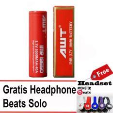 AWT Battery IMR 18650 3.7V 3000 Mah 40A Battery Vape Rokok Elektrik + GRATIS 1 PC Headphone Beats Solo Warna Random