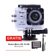 Bcare Action Camera B-Cam X-2 Wifi - 12 MP Full HD 1080P - Silver + Gratis SD Card 16GB Class 10 + Monopod