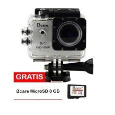 Bcare B-Cam X-1 Action Camera - 12 MP full HD 1080P - Silver + Gratis Bcare Micro SD 8GB