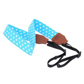 Blue And White Universal Adjustable DSLR Camera Shoulder Neck Strap Belt Soft Cotton Polka Dots With Harness Adapter For Nikon Canon Panasonic