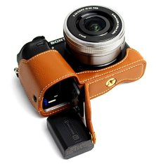 Bottom Opening Version Protective Genuine Real Leather Half Camera Case Bag Cover With Tripod Design For Sony ILCE6000 A6000 Camera With Hand Strap (Brown)