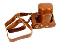Bottom Protective PU Leather Camera Case Bag With Tripod Design For FUJIFILM Fuji X Series X - A1 XA1 With 18 - 55mm Lens / 16 - 50mm Lens With Shoulder Neck Strap Belt (Brown)