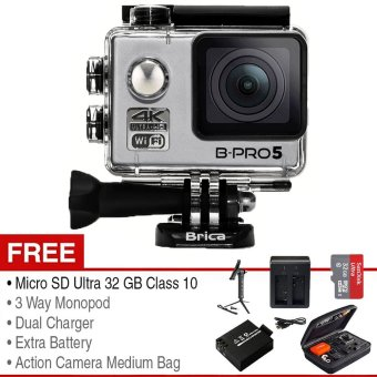 Brica Action Camera B-Pro 5 Alpha Edition Mark II - Silver + Gratis Paket Adventure Pack