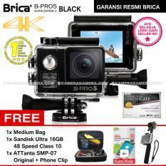 BRICA B-PRO 5 Alpha Edition 2 (AE2) 4K BLACK + Sandisk Ultra 16GB Speed 48 Class 10 + ATTanta SMP-07 Original + Phone Clip + Medium Bag