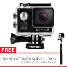 Brica B-PRO 5 Alpha Edition Full HD 1080p Wifi - 12 MP - Hitam + Gratis Tongsis Attanta SMP-07 - Hitam