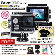 BRICA B-PRO 5 Alpha Edition Mark IIs (AE2s) WIFI 4K BLACK + 3 Way Monopod + Battery Brica 1000mAh + Dual Charger + SanDisk 32GB Class 10 + Hardcase Medium + Kaos Brica + Sticker BPRO5