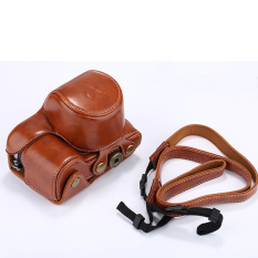 Brown PU Leather Camera Case Cover For Sony A6000 With Strap High Quality