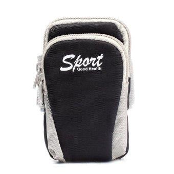 BUYINCOINS 5.5inch Running Jogging Cycling Sports Gym Money Pouch Arm Wrist Bag (Black)