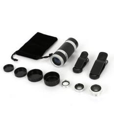 BUYINCOINS Universal 4 in 1 Clip-On Fish Eye 8X Zoom Telescope Lens Kit for Mobile Phone - intl