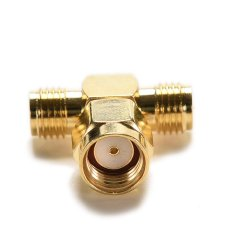 Buytra Adapter RP.SMA Jack Male To 2 RP-SMA Plug Female T RF Connector Triple