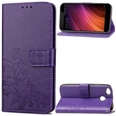 BYT Flower Debossed Leather Flip Cover Case for Xiaomi Redmi 4X - intl