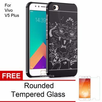 Calandiva Dragon Shockproof Hybrid Case for VIVO V5 Plus - Hitam + Rounded Tempered Glass