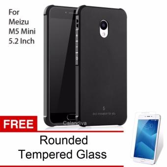 Calandiva Shockproof Hybrid Case for Meizu M5 Mini 5.2 Inch - Hitam + Gratis Rounded Tempered